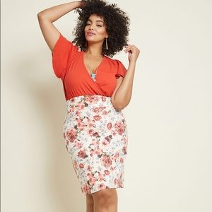 ModCloth floral pencil skirt